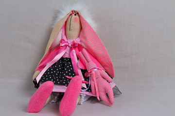 toy rabbit in pink dress, easter