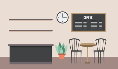coffee shop interior counter table chairs menu board and clock in wall vector illustration