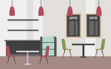 coffee shop interior modern furniture space vector illustration