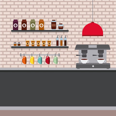 coffee shop interior cappuccino machine counter cups and products vector illustration