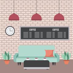 coffee shop interior furniture sofa table menu plants clock in brick wall vector illustration