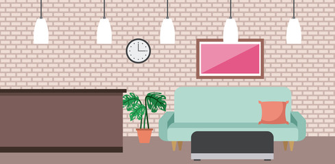 coffee shop interior comfort sofa picture clock and pot plant vector illustration