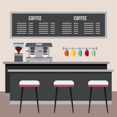 coffee shop interior hanging cups board with menu machine make beverage and chairs vector illustration
