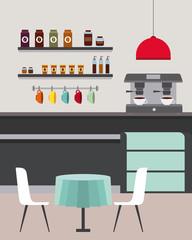coffee shop interior furniture restaurant room vector illustration