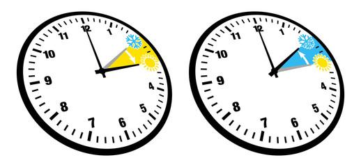 Zeitumstellung 2 Uhren Symbole Zahlen Perspektive Schwarz