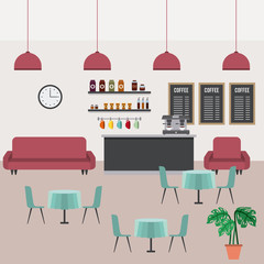 coffee shop interior sofa counter tables chairs board clock and palm vector illustration