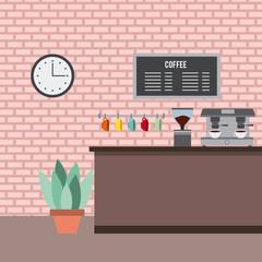 coffee shop interior counter machine board menu plant and clock in wall vector illustration