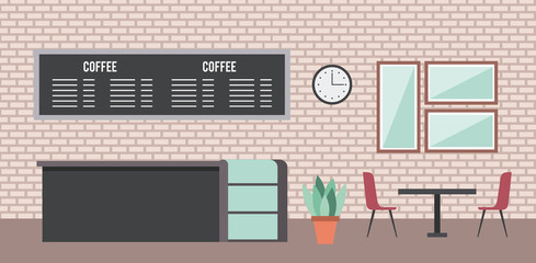 coffee shop interior counter shelf board table chair clock mirror vector illustration