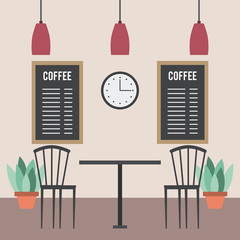 coffee shop interior table chairs boards plants and clock vector illustration
