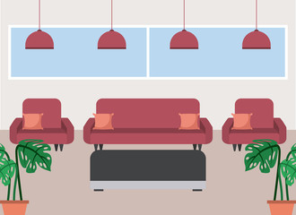 coffee shop interior elegant sofas potted plants and lamps windows vector illustration