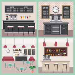 coffee shop interior space modern furnitures collection vector illustration