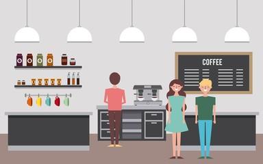 people coffee shop interior waiting service vector illustration