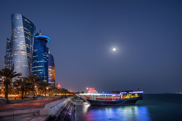 West Bay and the Corniche in Doha Qatar