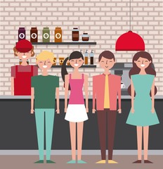 people and barista employee coffee shop interior vector illustration