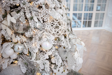 Christmas tree gold decorations and garland