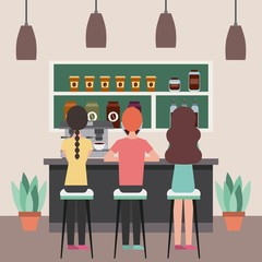 coffee shop interior people sitting in stools behind counter vector illustration