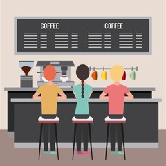 young people sitting in a coffe shop vector illustration