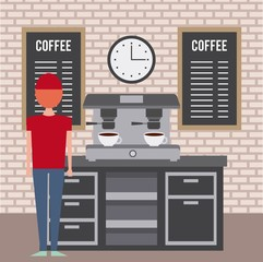 coffee shop interior barista employee and machine espresso furniture vector illustration