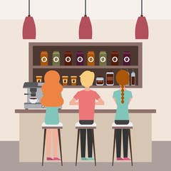 coffee shop interior people having break together vector illustration