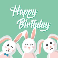 happy birthday cute rabbits decoration vector illustration