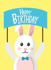 happy birthday rabbit holding board celebration vector illustration