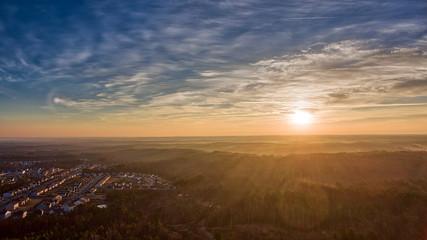 Sunrise in suburban Durham North Carolina