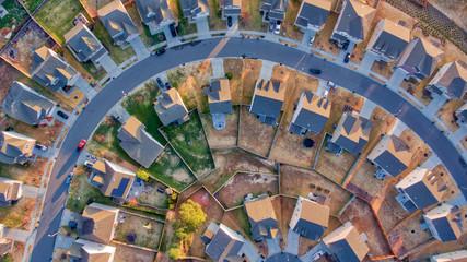 Looking down on suburban Durham North Carolina