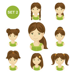 Cute brunet little girls with various hair style. Set of children's faces. Vector illustration.