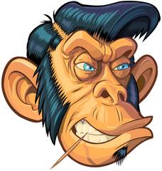 Vector Cartoon Hipster or Greaser Monkey Head Illustration