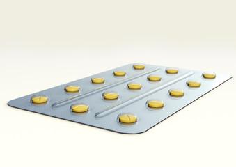 A 3D illustration of medicine blister