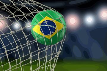 Brazil soccerball in net