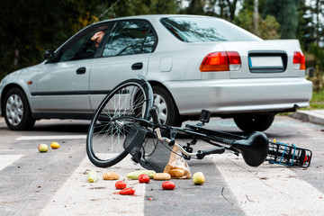 Worried driver after hitting cyclist