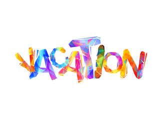 Vacation. Vector colorful triangular letters
