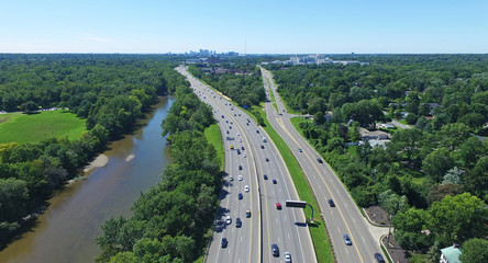 Looking down on highway with cars near Columbus Ohio