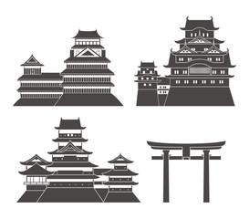 Japan set. Isolated Japan architecture on white background