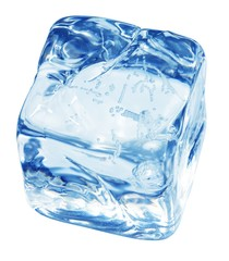 Isolated blocks of ice on the white
