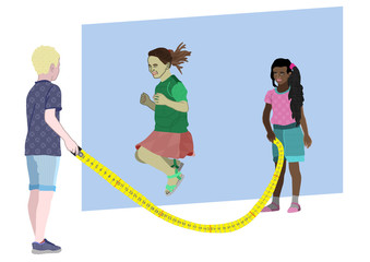 Kids playing jumping rope with measuring tape Fotoväggar