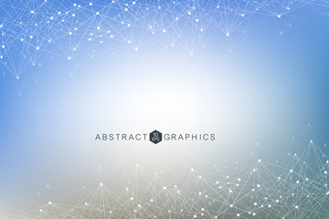 Geometric abstract background with connected line and dots. Big Data Visualization. Global network connection vector. Simple graphic background communication. Technology, science background.