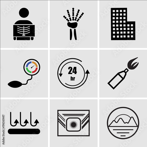 adb2d343 Set Of 9 simple editable icons such as pinnacle, Airforce, breathable,  anarchy, 24 hr, pressure sensor, City building, radiologist, radiologist,  ...