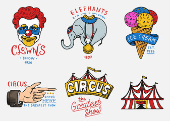 Carnival Circus badge. Banner or poster with animals. clown and elephant, ice cream and focus, magic in the tent. festival with actors. engraved emblem hand drawn. entertainment, theater and marquee.