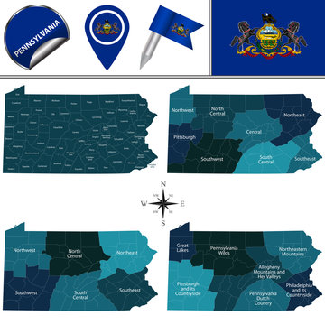 Map of Pennsylvania with Regions