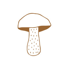 Linear cartoon hand drawn mushroom. Cute vector colorful doodle mushroom. Isolated funny mushroom illustration on white background.