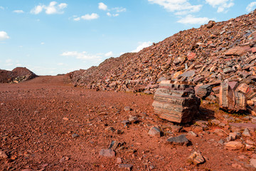Deserted red soil on the territory of open-cast mine in Kryvyi Rih, Ukraine.