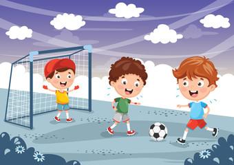 Vector Illustration Of Kid Playing Football