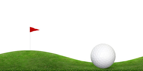 Golf ball on green grass hill of golf course isolated on white.