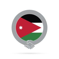 Jordan flag handshake icon. agreement, welcome, cooperation concept