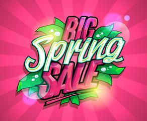 Big spring sale poster design concept
