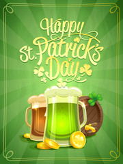 Happy Patrick's Day poster with green beer and beer barrel