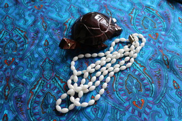 turtle and white beads