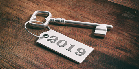 Key with year 2019 tag isolated on wooden background. 3d illustration